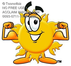 Cartoon Sun Character Flexing His Muscles