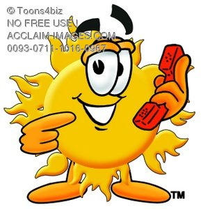Cartoon Sun Character Holding A Phone