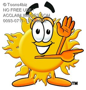 Cartoon Sun Character Pointing To The Side