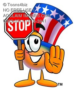 Uncle Sam Character Holding A Stop Sign