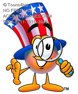Uncle Sam Character Holding A Magnifying Glass
