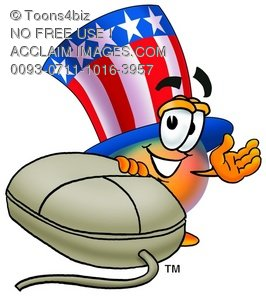 Uncle Sam Character With A Computer Mouse