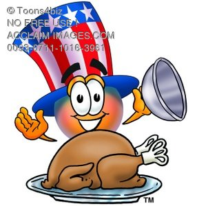 Uncle Sam Character With A Thanksgiving Turkey