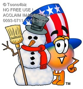 Uncle Sam Character With A Snowman