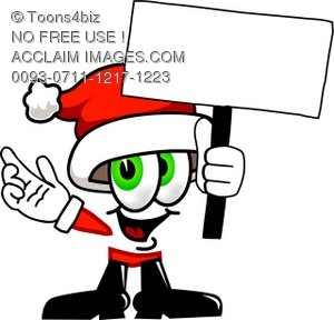 Cartoon Santa Claus Character Holding a Sign