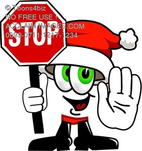 Cartoon Santa Claus Character Holding a Stop Sign