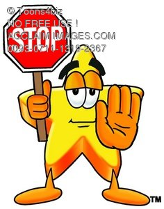 Cartoon Star Character Holding a Stop Sign