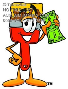 Cartoon Paint Brush Character Holding Money