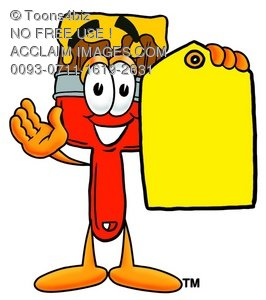 Cartoon Paint Brush Character Holding a Price Tag
