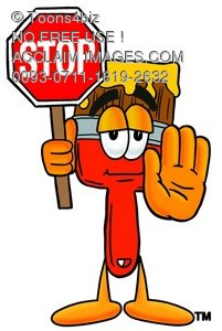 Cartoon Paint Brush Character Holding a Stop Sign