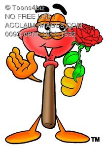 Cartoon Plunger Holding a Rose