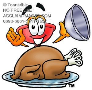 Cartoon Plunger With a Thanksgiving Day Turkey