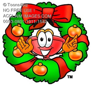 Cartoon Plunger in a Christmas Wreath