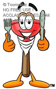 Cartoon Plunger With a Knife and Fork