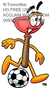 Cartoon Plunger Playing Soccer