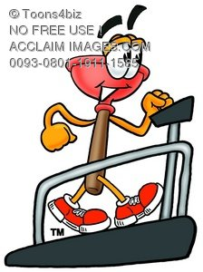 Cartoon Plunger on  Treadmill