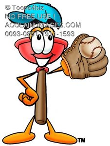Cartoon plunger playing baseball royalty free rf clip for A bathroom i can play baseball in