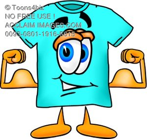 Cartoon T Shirt Flexing His Muscles