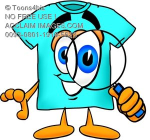 Cartoon T Shirt Holding a Magnifying Glass