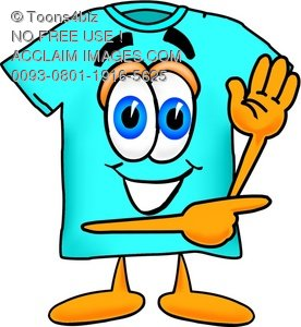 Cartoon T Shirt Pointing Sideways