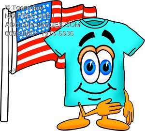 Cartoon T Shirt With an American Flag