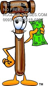 Cartoon Mallet Holding Money