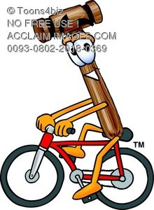 Cartoon Mallet Riding a Bicycle