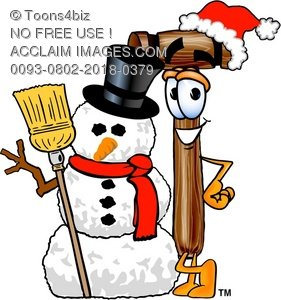 Cartoon Mallet With A Snowman