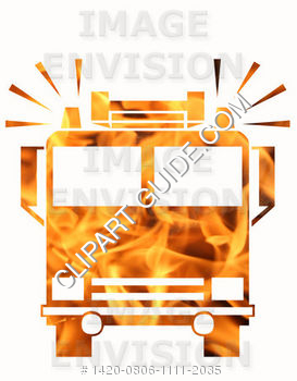Flaming Emergency Fire Truck with Flashing Lights