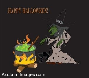 Halloween Witch at Her Cauldron
