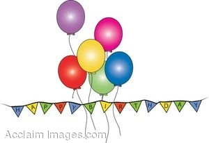 Happy Birthday Banner and Balloons