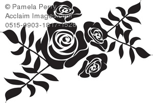 Black Rose Stencil Design