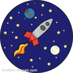 Description clip art of a cartoon rocket blasting off above earth and