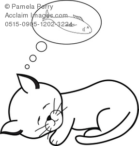 Coloring page clip art illustration of a kitten dreaming for Dreaming of eating fish