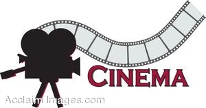 Cinema clipart  Clip Art of a Sign With a Strip of Film and a Movie Camera