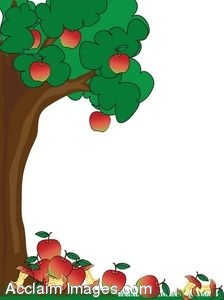 Clip Art Of An Apple Tree With Fallen Apples