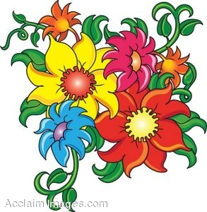 Clip art of cartoon flowers