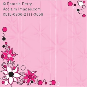 Pink Striped Background With Flowers