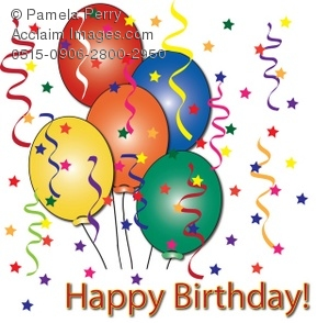 Balloons And Streamers With Happy Birthday Text Royalty Free Clip Art Picture