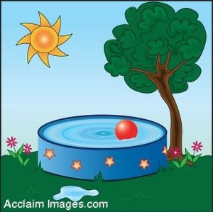 Description  Clip art of a kid s pool in a summer yard  Clip art    Kids Pool Clip Art