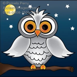 Cartoon of a White Owl