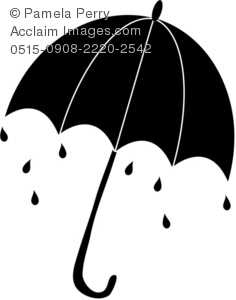 Umbrella with Rain and Raindrops Silhouette Royalty-Free Clip Art ...