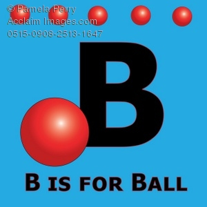 the alphabet letter b is for ball royalty free clip art picture