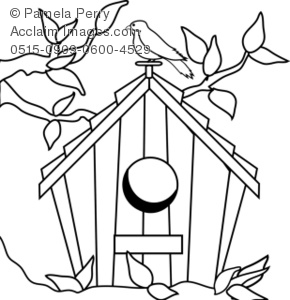 Coloring Page Illustration of a Birdhouse