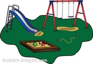 Clip Art of a Childrens Playground With A Slide, Swing Set and Sandbox