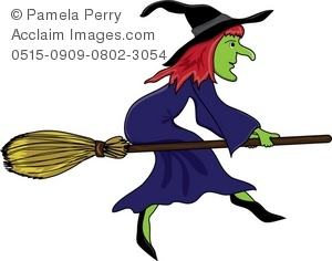 halloween witch flying on her broom royalty free clip art picture - Flying Halloween Witch