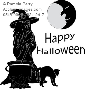 Witch With Cat and a Cauldron