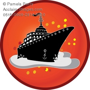 Clip Art Illustration of a Cruise Ship Icon