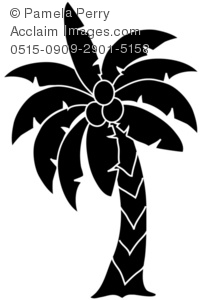 Clip Art Illustration of a Palm Tree Silhouette