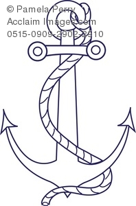 Clip Art Illustration of an Anchor